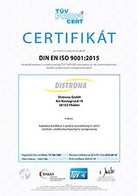 TÜV Zertifikat - tschechisch
